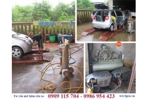 Mô hình rửa xe kết hợp thay vá vỏ ô tô, xe máy