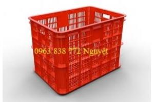 Rổ nhựa hs005 - Sóng nhựa 8 bánh xe chuyên đựng hàng hóa