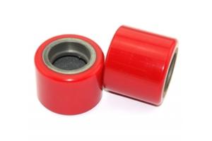 Bánh xe nâng tay PU 80x70mm - bánh xe PU đỏ
