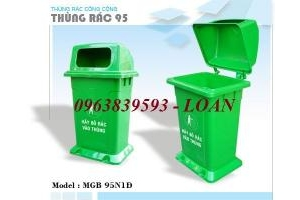 Thùng rác nhựa 95l - thùng rác công viên